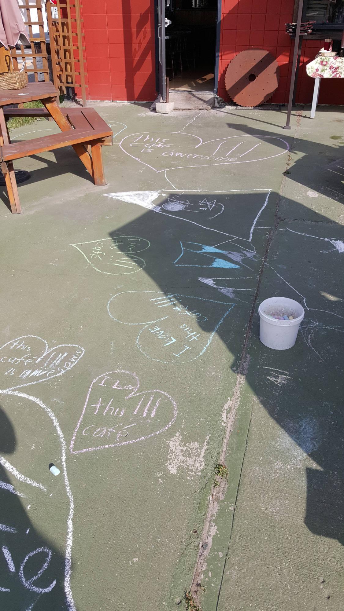 chalked up sidewalk
